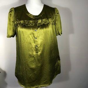 J Crew Olive Green Silk Ruffle 1/2 Button Top